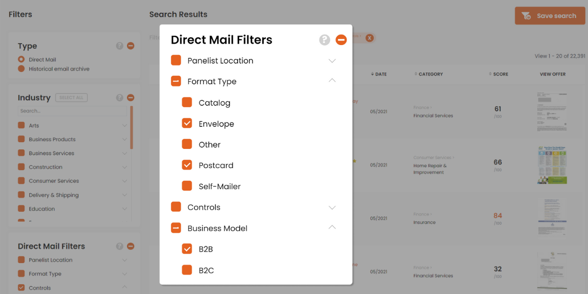 direct mail formats and business models