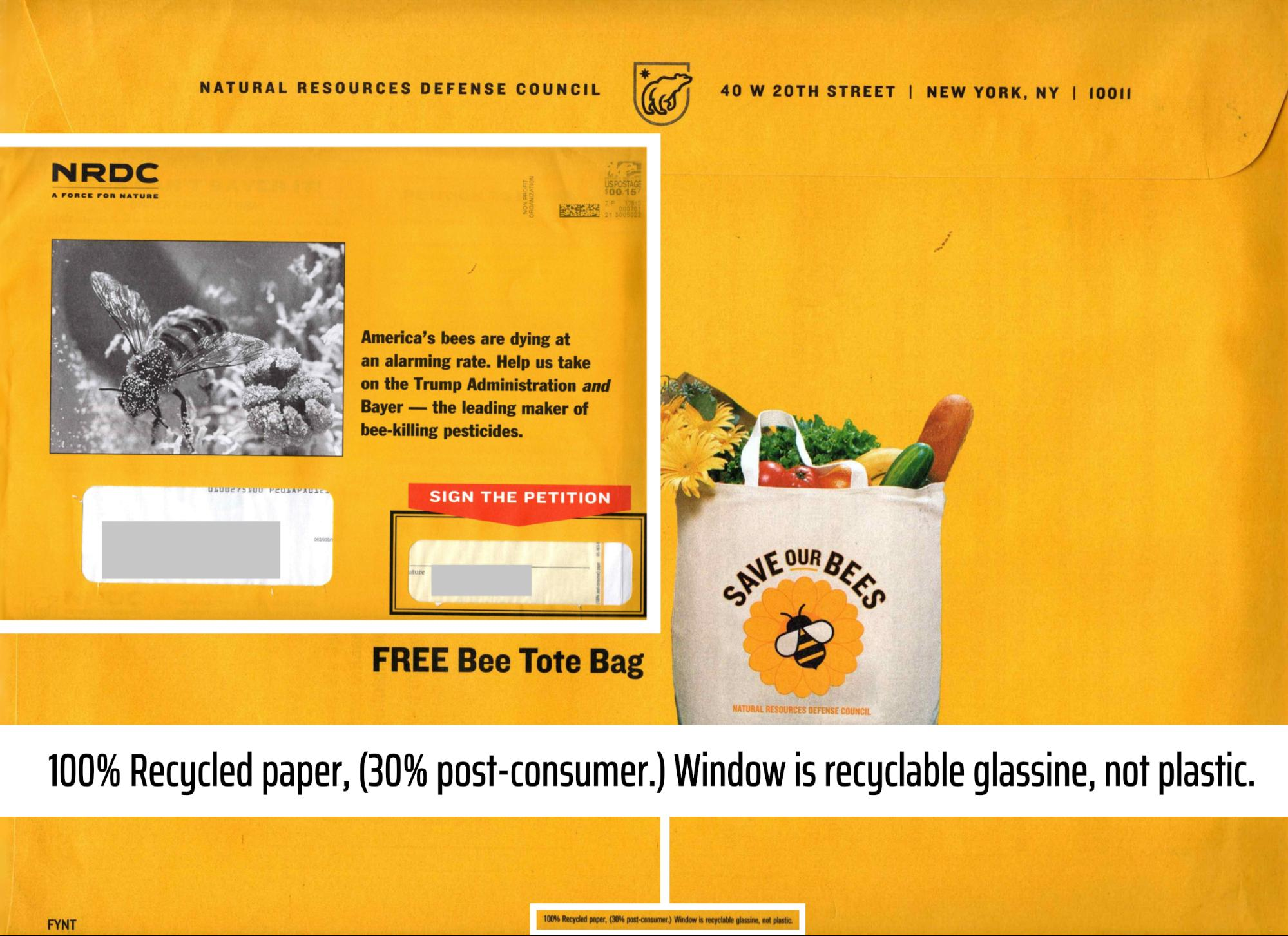 Natural Resources Defense Council direct mail example