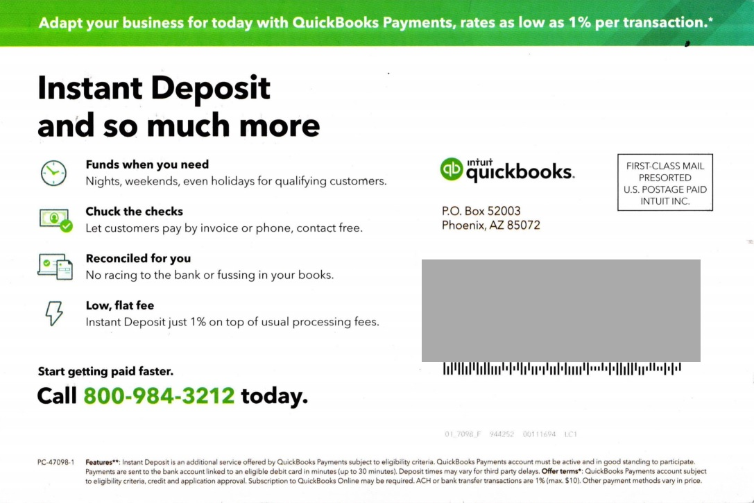 intuit direct mail