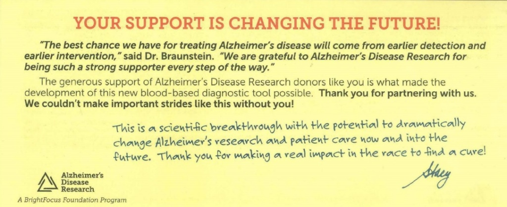 Alzheimer's Disease Research fundraising letter