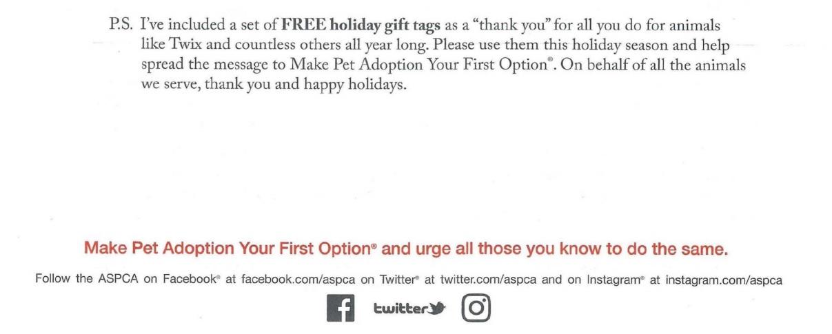 ASPCA direct mail