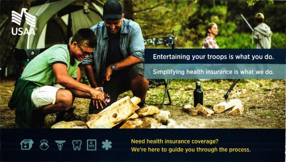 USAA's health insurance postcard