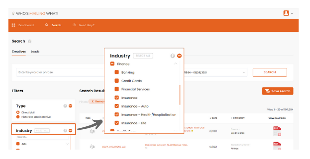 click on industry filter to choose the insurance subcategory you need