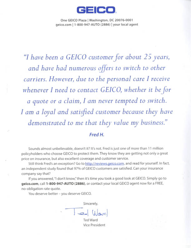 geico insurance direct mail marketing