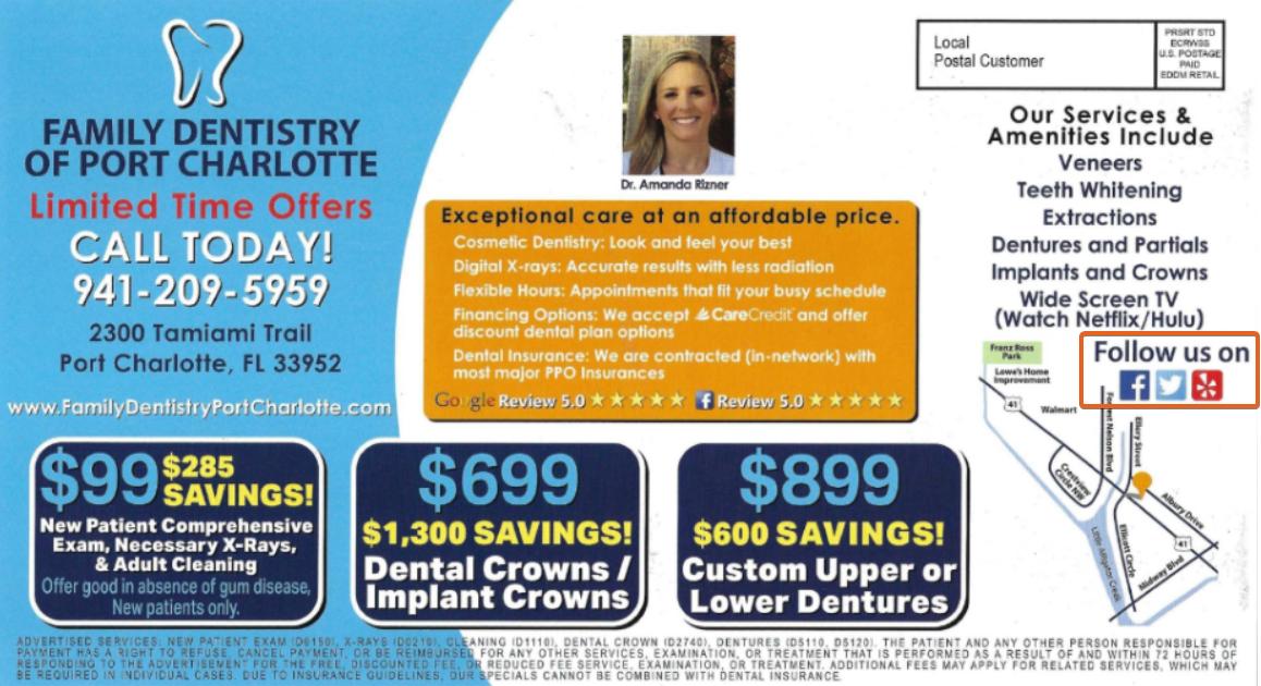 FAMILY DENTISTRY dental postcards social media cta