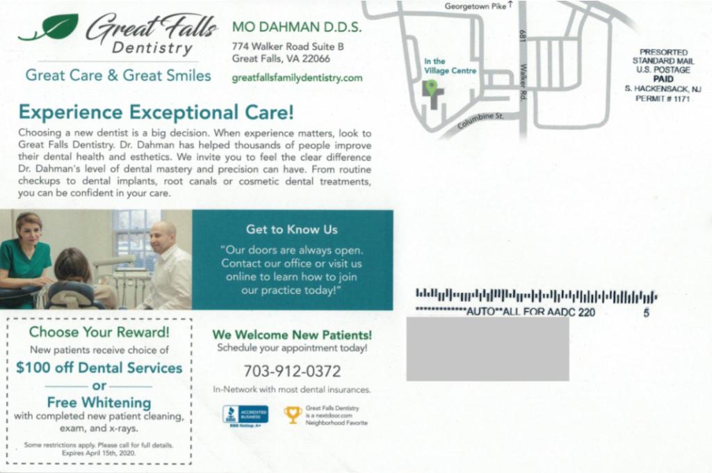GREAT FALLS DENTISTRY dental postcards