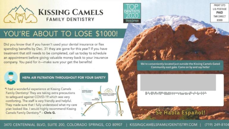 KISSING CAMELS FAMILY DENTISTRY dental postcards