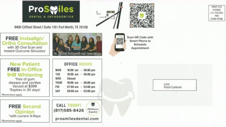 PROSMILES dental postcard