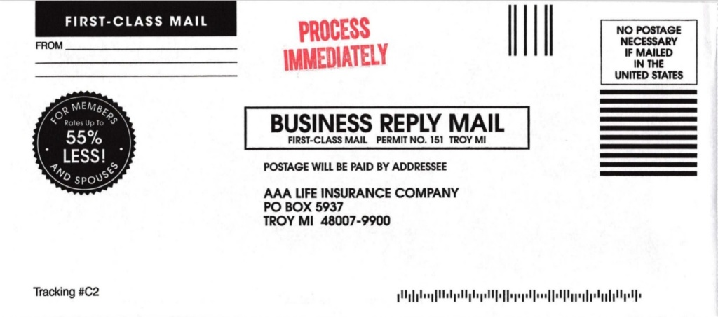 AAA — a life insurance company business reply mail