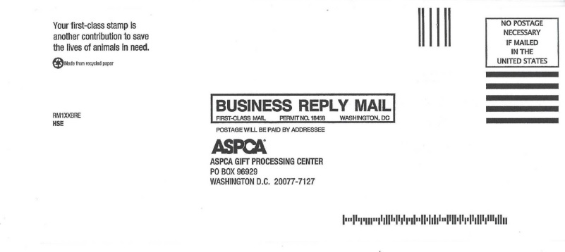 ASPCA business reply mail