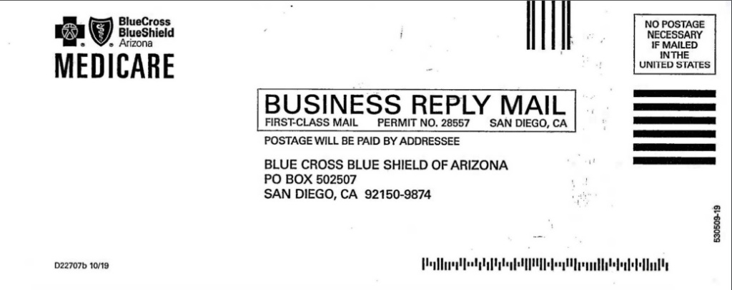 Blue Cross Blue Shield Arizona business reply mail