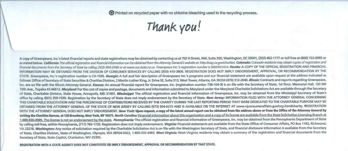 Greenpeace direct mail