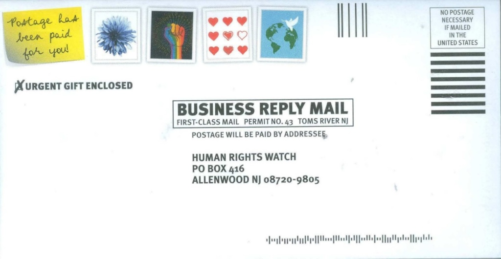 Human Rights Watch business reply envelope