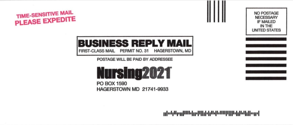 Nursing21 business reply envelope