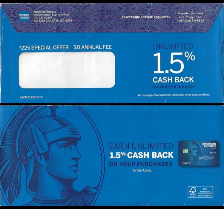 blue envelope amex
