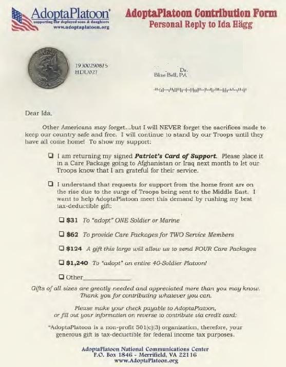 Adopt-A-Platoon direct mail