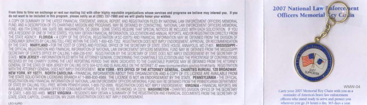 National Law Enforcement Officers Memorial direct mail