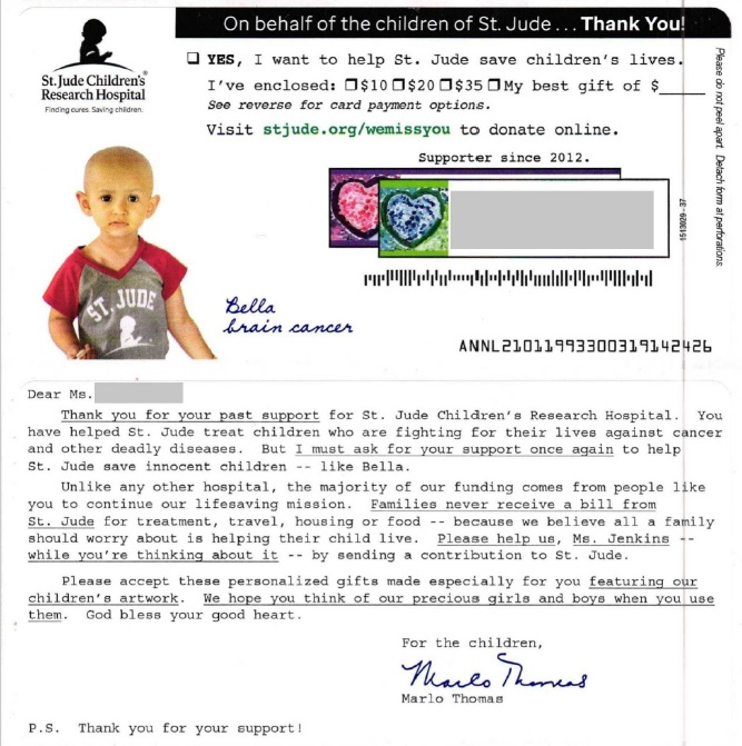 St. Jude Children's Research Hospital direct mail
