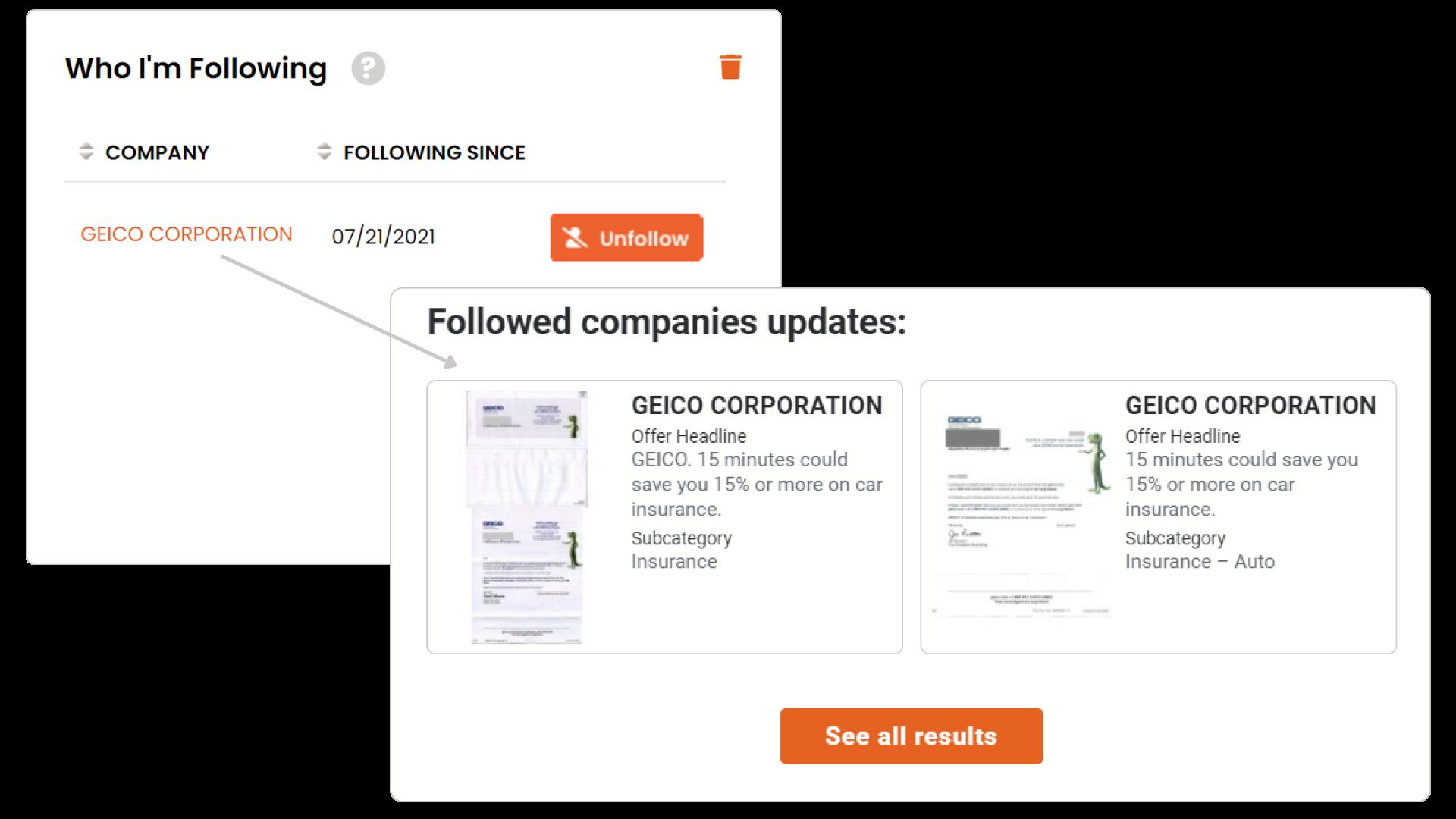 followed companies updates