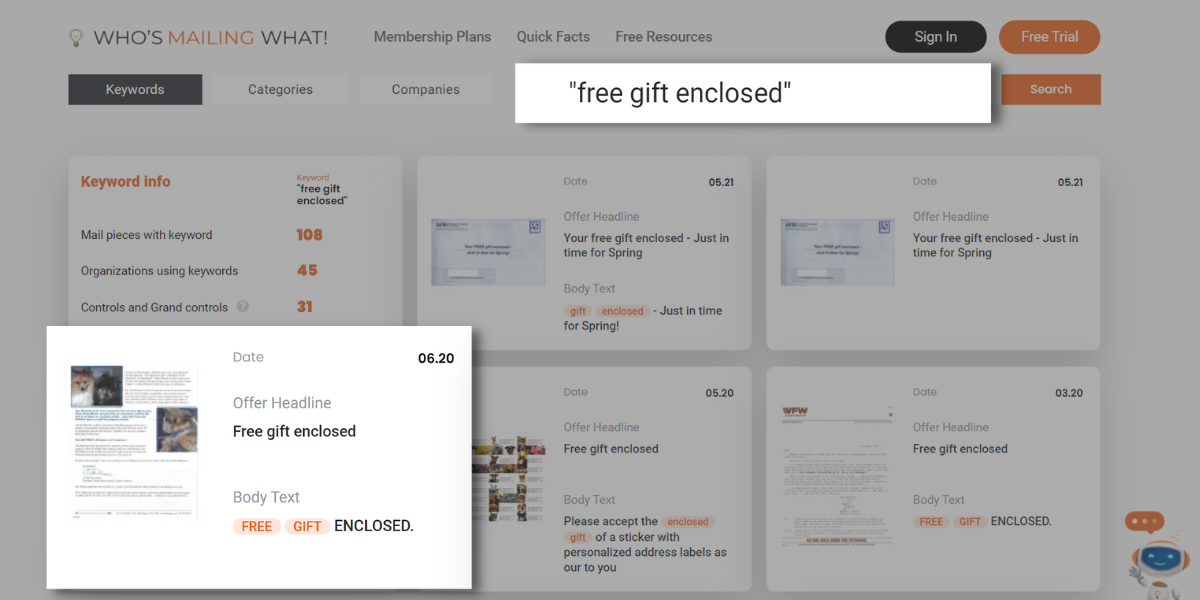 free look up tool direct mail