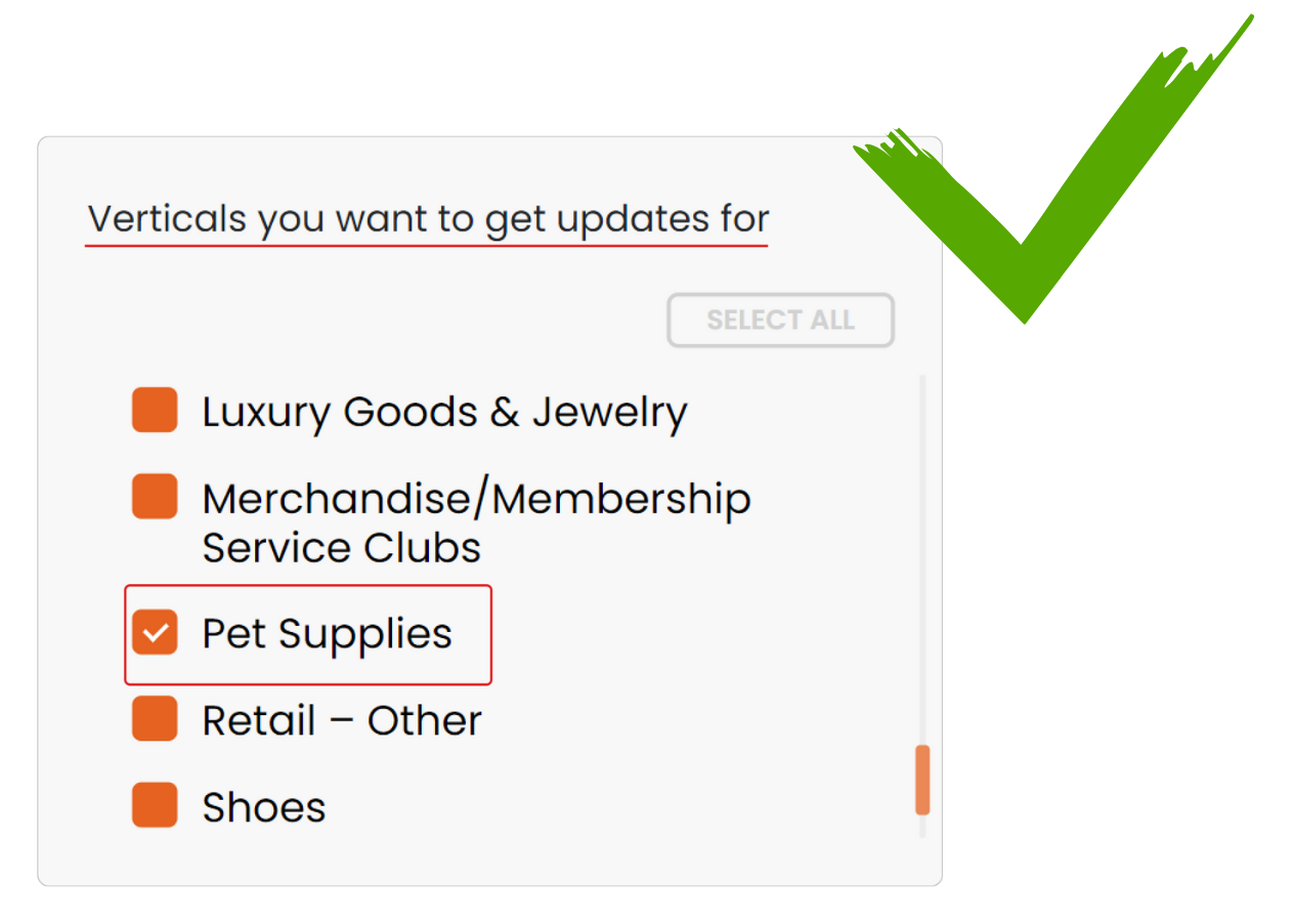 select industry to receive notifications