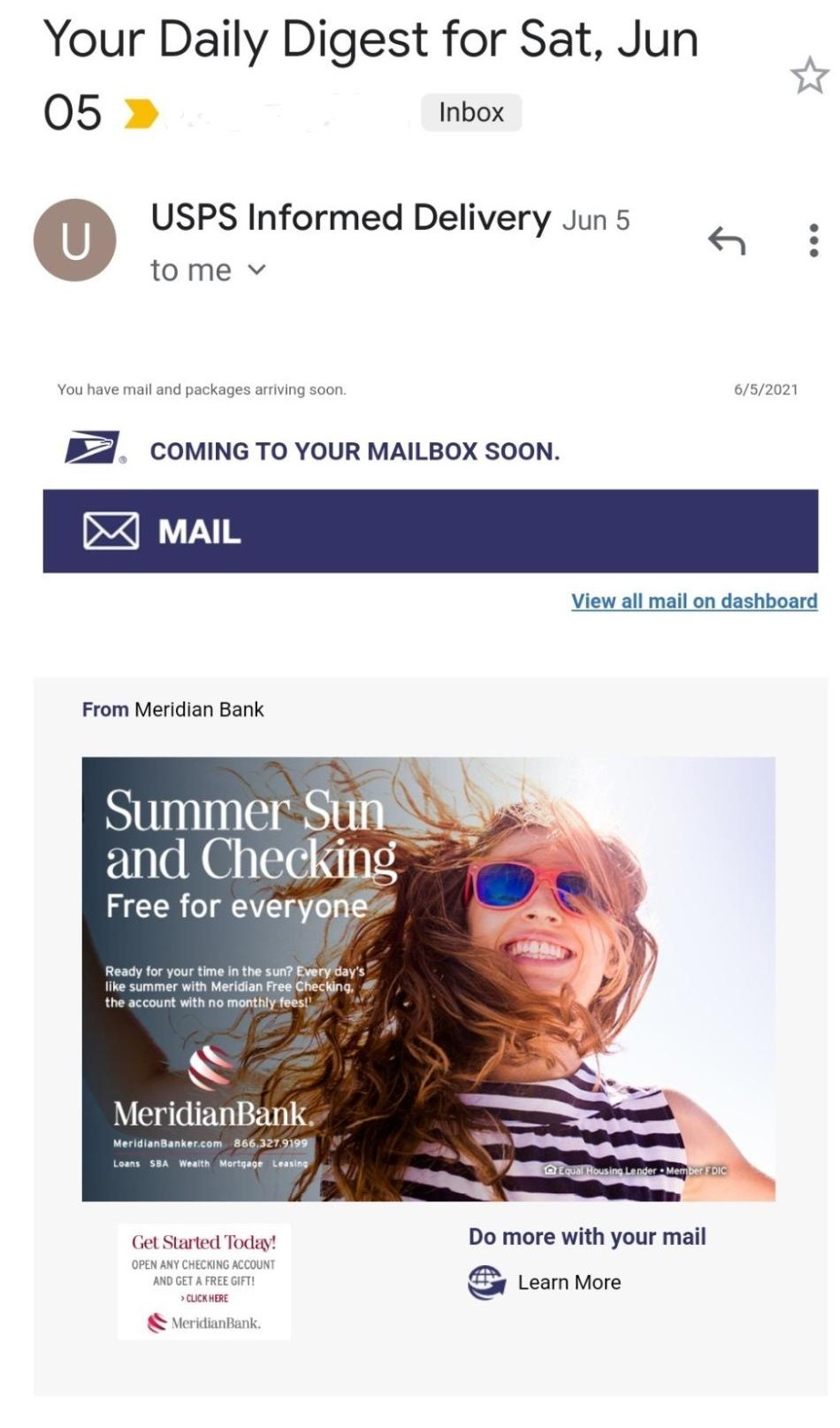 Meridian Bank informed delivery example
