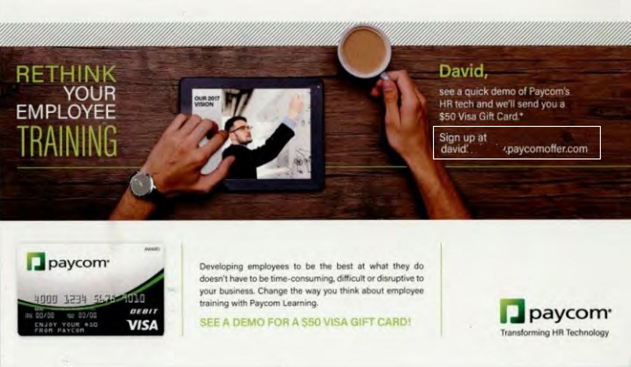 Paycom postcard