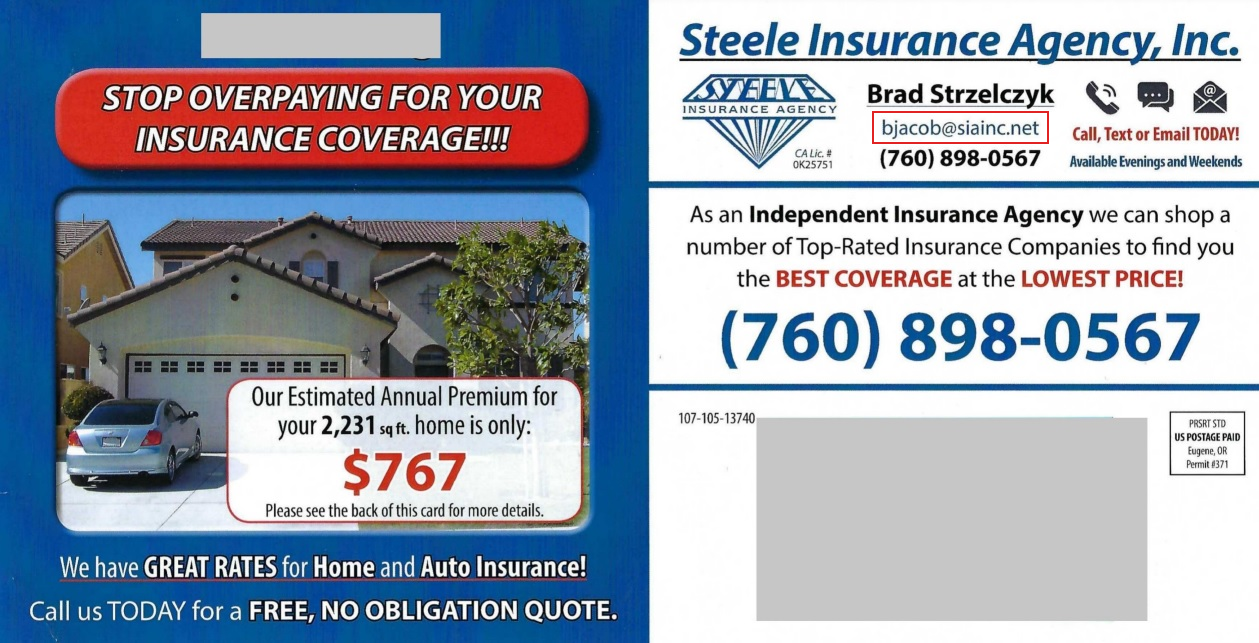 insurance agent postcard