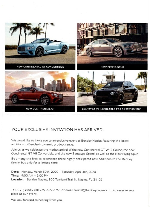 Bentley automotive direct mail