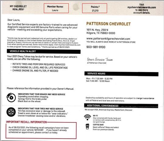 Chevrolet automotive direct mail