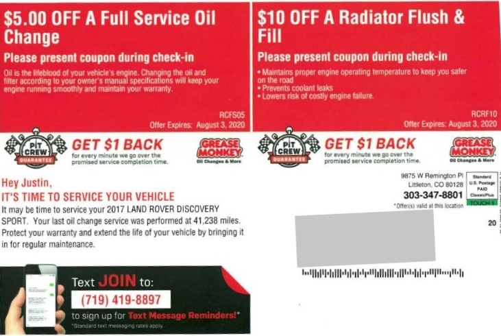 Grease Monkey automotive direct mail