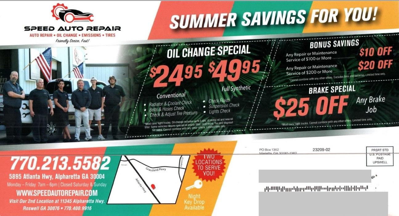 Speed Auto Repair automotive direct mail
