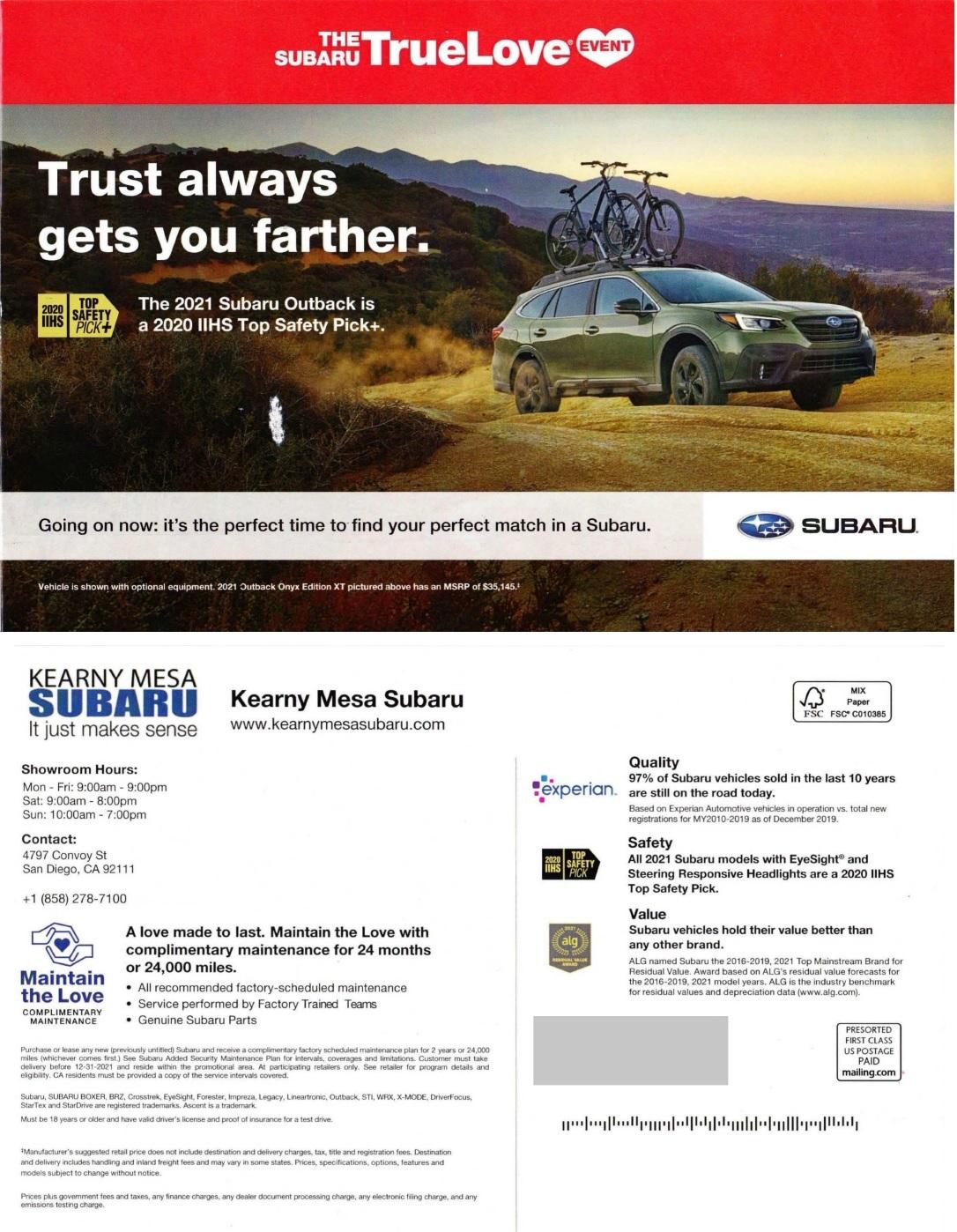 Subaru automotive direct mail